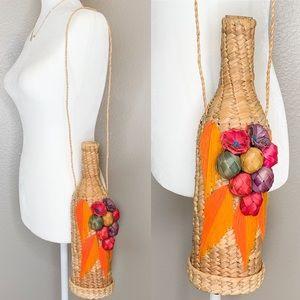Vintage Wicker Straw Wine Holder Bag Purse